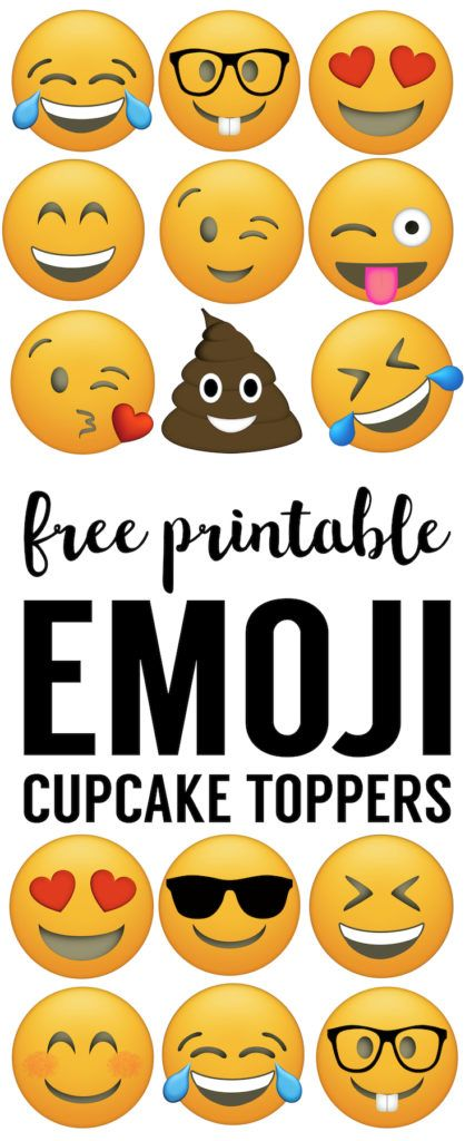 Emoji Cupcake Toppers Free Printable Or Straw For Birthday Party Decor Easy Cheap Supplies