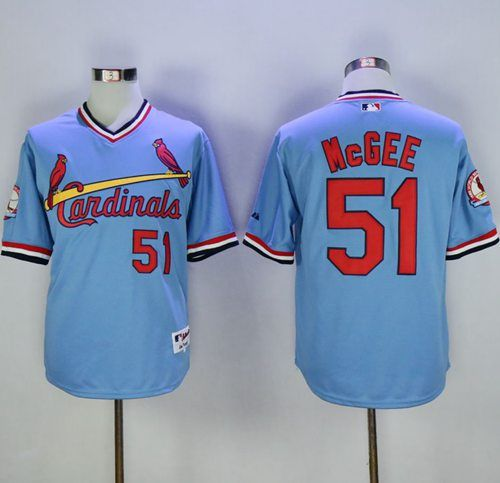 9ae79a42 Cardinals #51 Willie McGee Blue Cooperstown Throwback Stitched MLB ...