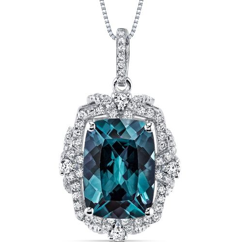 MSRP: $399.99  Our Price: $149.99  Savings: $250.00    Item Number: SP10984    Availability: Usually Ships in 5 Business Days    PRODUCT DESCRIPTION:    This beautiful pendant for her features exceptional design, craftsmanship and finishing. With a Vintage inspired Design, this pendant showcases a simulated Cushion Cut Alexandrite that changes Hue depending on lighting: Deep Pink, Dark Purple, Rich Blue, and Ocean Teal and is surrounded by super sparkling white cubic zirconia. A perfect gift…