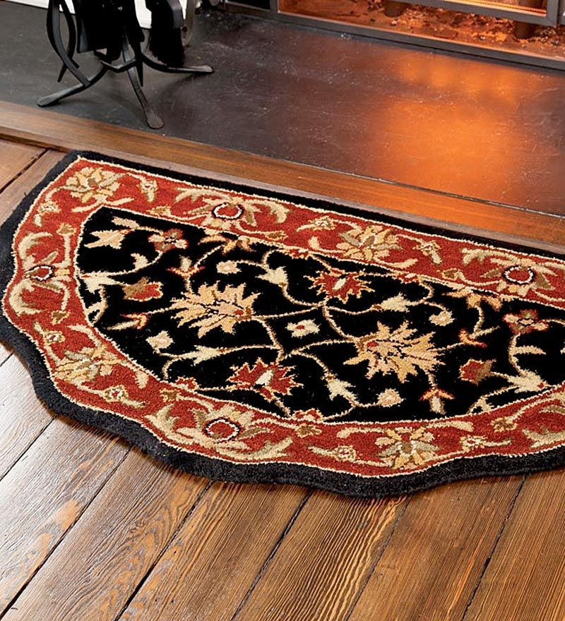 Scalloped Wool Hearth Rug Rugs