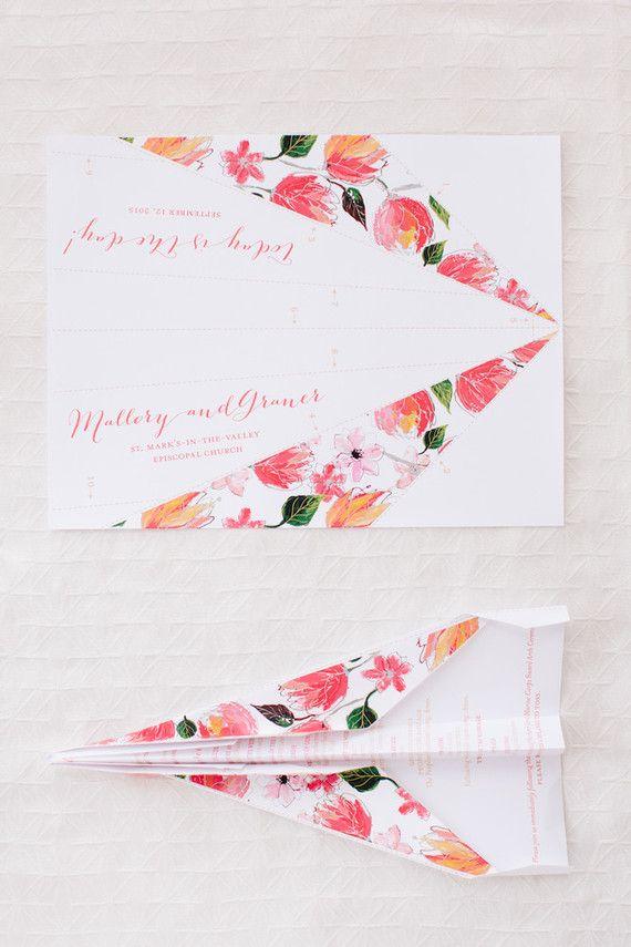 Paper airplane wedding programs