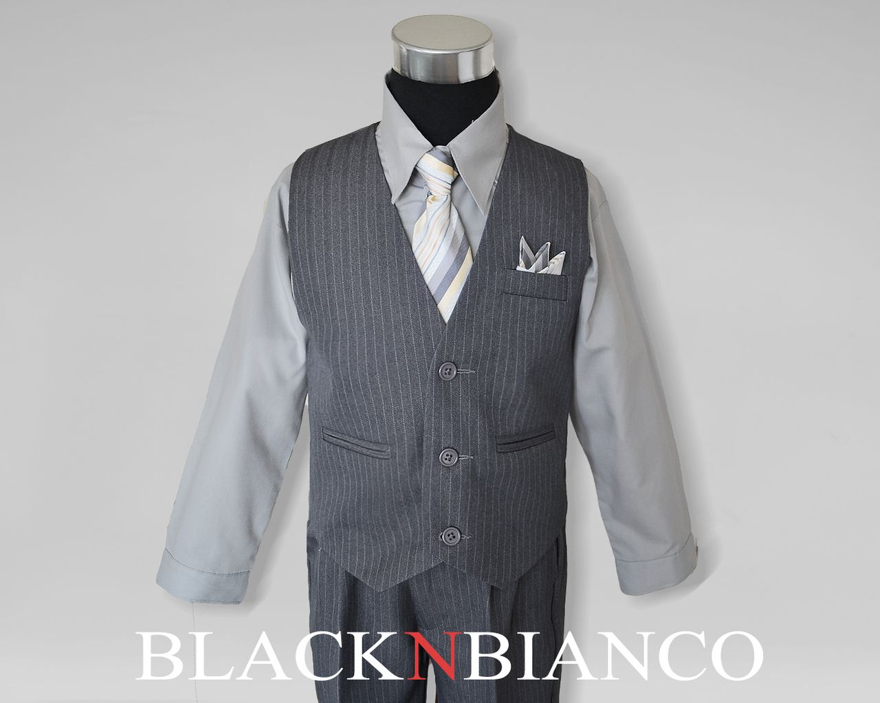 4730ab2e17eb3d Boys Grey Pinstripe Vest Suit in 2019 | Wedding! | Vest, Suit Vest ...