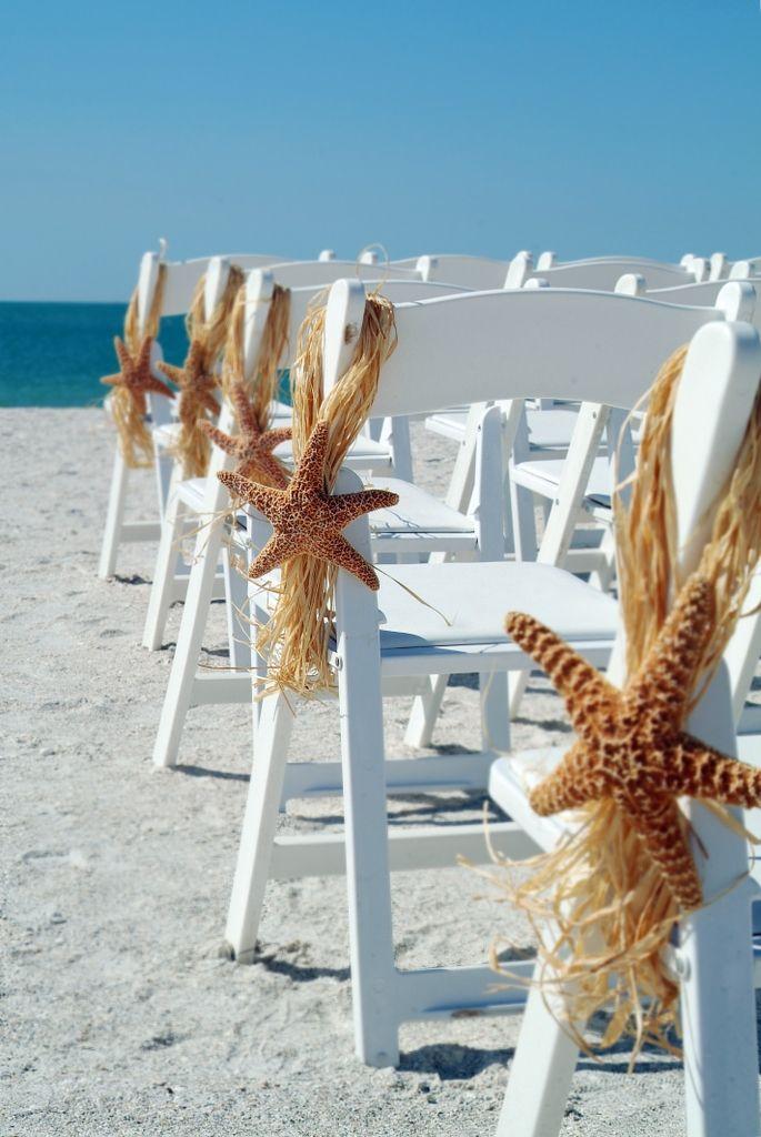Starfish And Raffia Chair Hanger Beach Wedding Ceremony Aisle