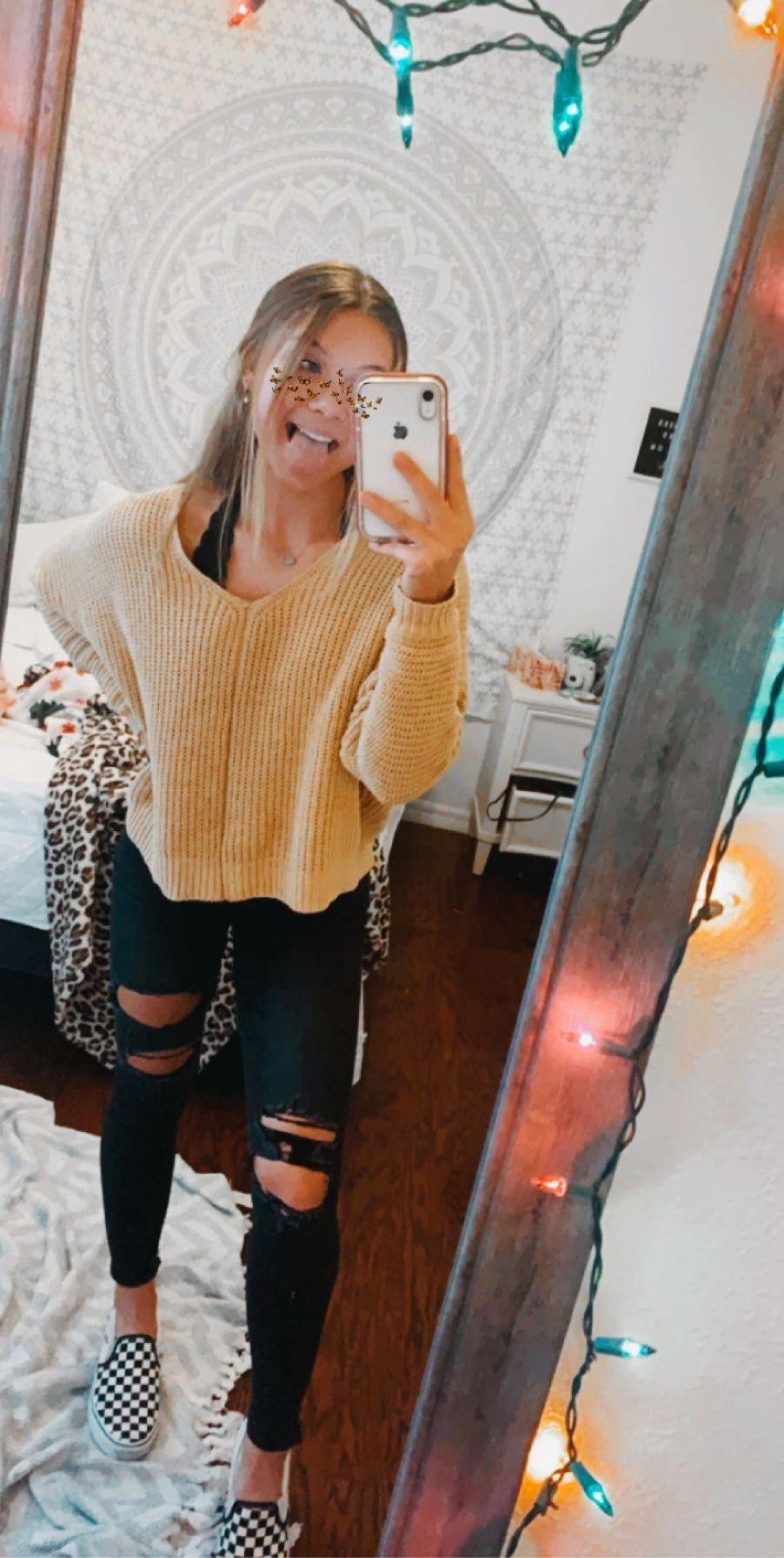 FULL TILT Essentials V-Neck Dolman Yellow Womens Crop Sweater - YELLO - 363382600