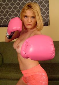 cubby topless in boxing gloves