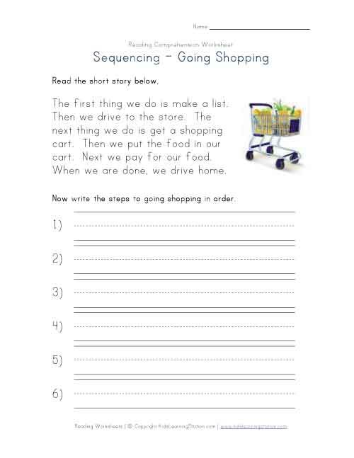 read and sequence shopping story comprehensive – Short Story Worksheets