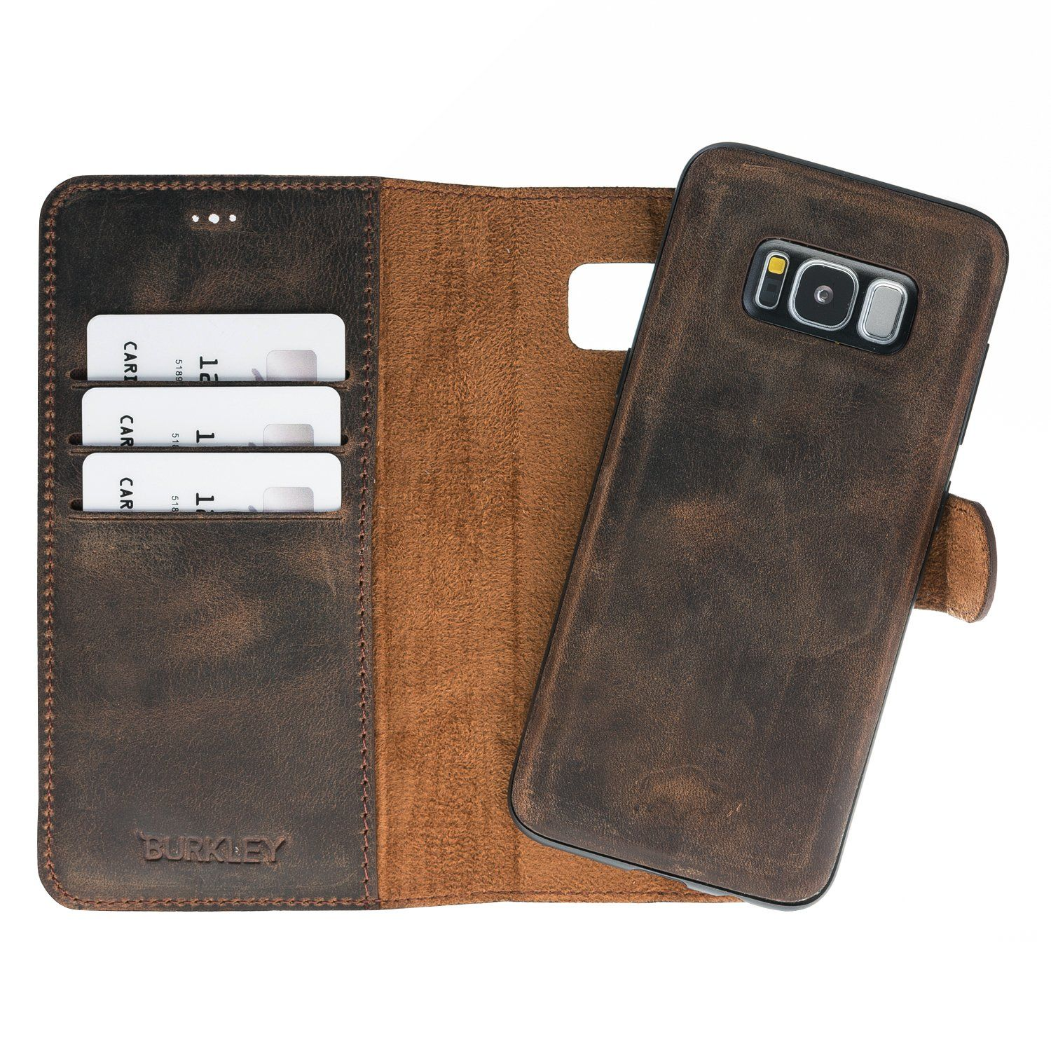 6535e2a98a75 Burkley Case Samsung Galaxy S8 Magnetic Detachable Premium Luxury Leather  Wallet Folio Case with Removable Snap