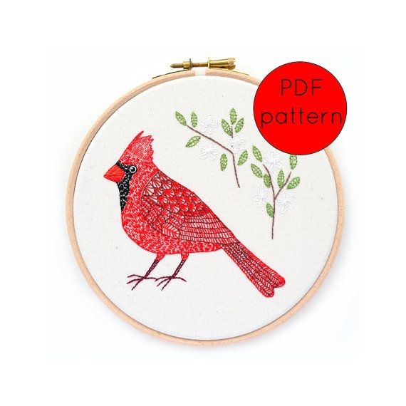 Cardinal Bird Hand Embroidery Pattern | EMBROIDERY | Pinterest ...