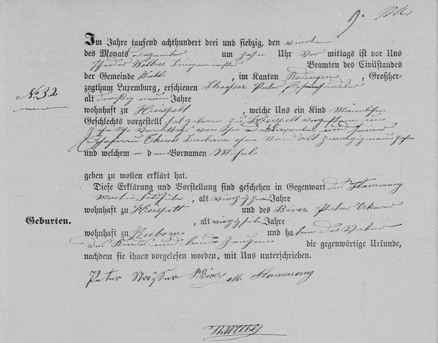 My Blog Post Presenting The Birth Certificate Of Michel Stroesser