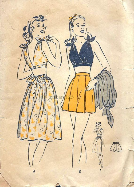 Vintage 1940s Tie Shoulder Cropped Playsuit Sewing Pattern...Flared Shorts and…