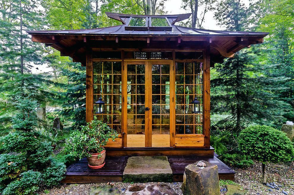 Japanese Soaking Tub Wood Outdoor Landscape With Hand Fencing And Gates Bamboo Garden Meditation Japanese Soaking Tubs Tea House Design Japanese Garden