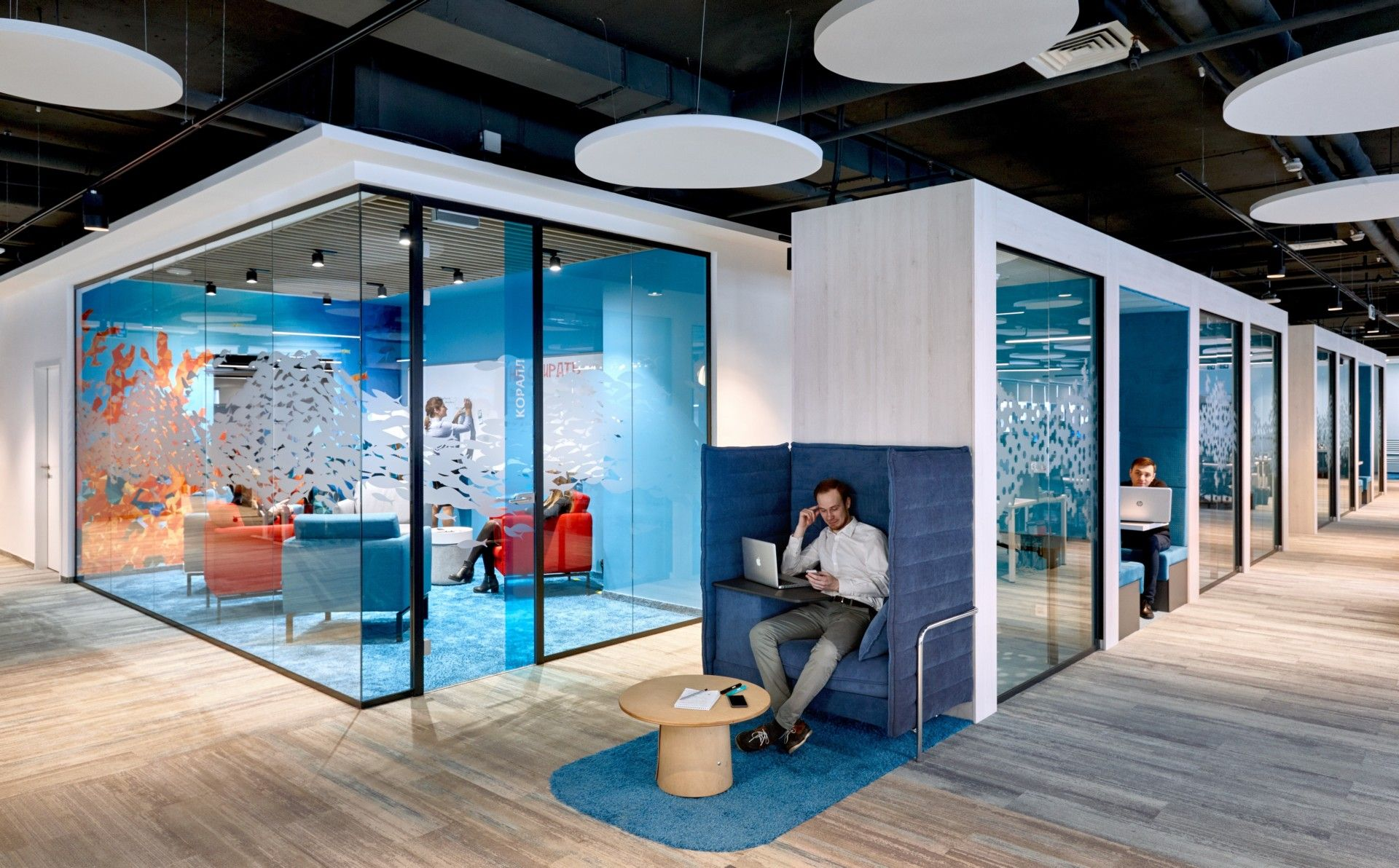 Evolution Design Creates Headquarters Like Google S For Sberbank With Images Office Space Design Coworking Space Design Colorful Office Design