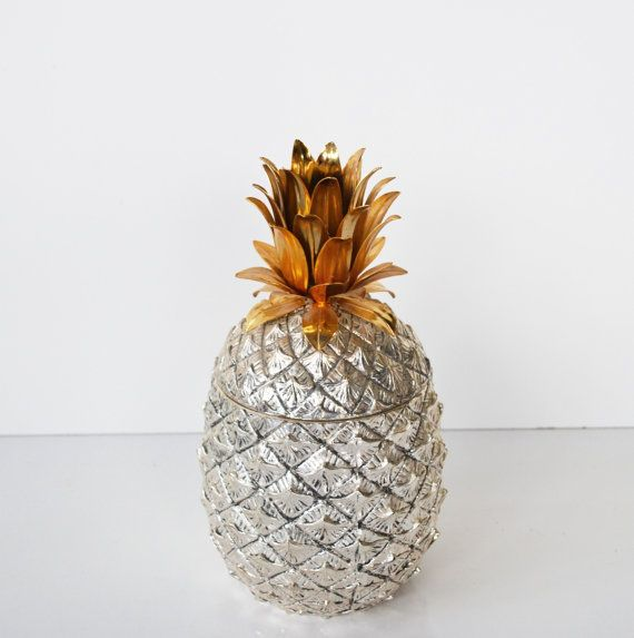 Vintage Silver Pineapple Ice Bucket Italian Pineapple Ice Bucket Mid  Century Hollywood Regency Barware Pina Colada Ice Chest Wedding Decor