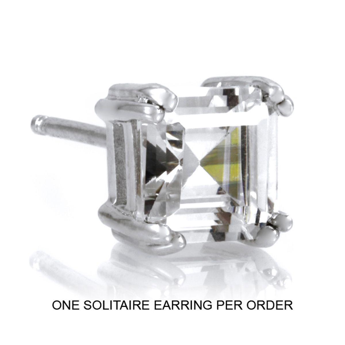 Asscher Cut Solitaire Stud Earring