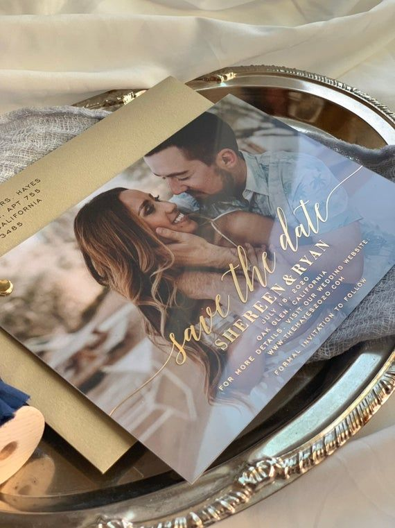 Save the Date Clear Gold Foil Layered Invites   Cl