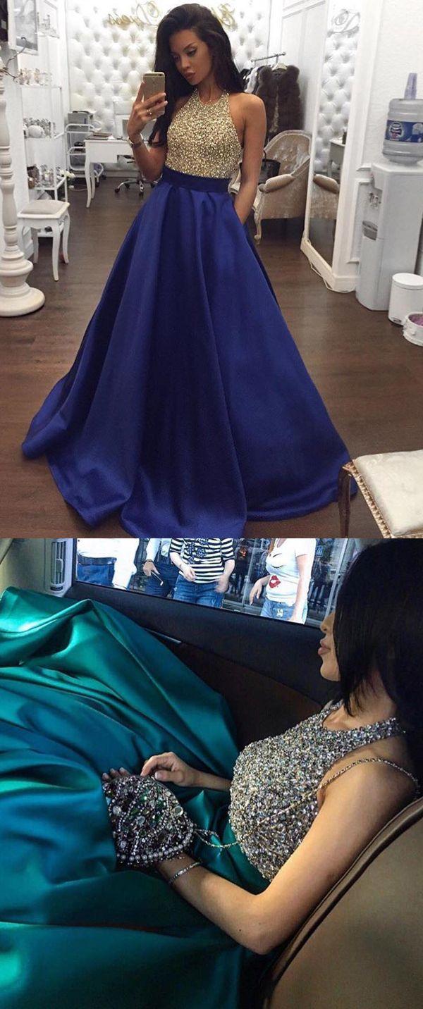 Aline halter backless royal blue satin prom dress with beading