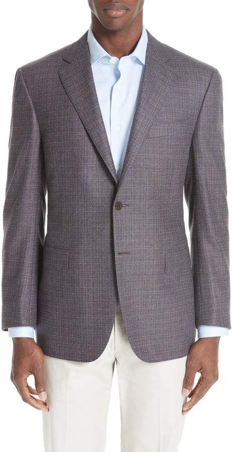 8cdbd79e5ad Canali Classic Fit Check Wool   Cashmere Sport Coat