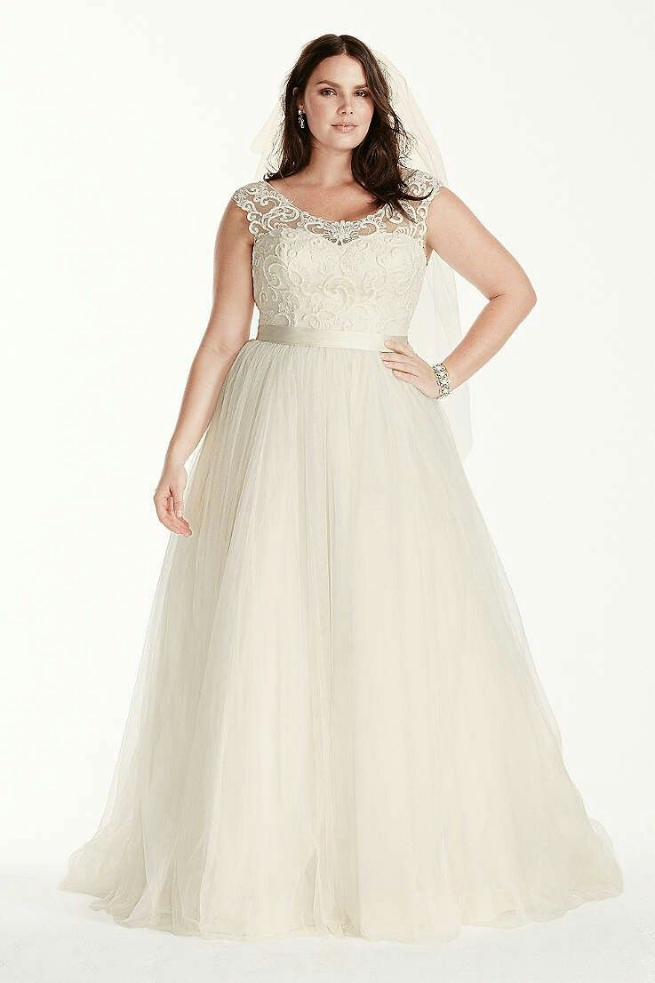 David\'s Bridal Collection TULLE PLUS SIZE WEDDING DRESS WITH LACE ...