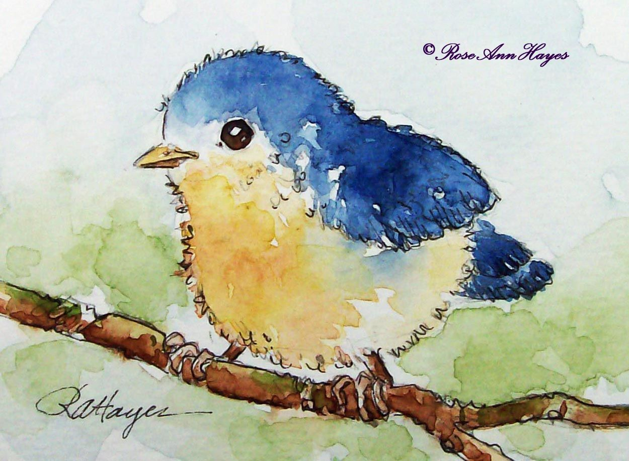 Watercolor paintings by roseann hayes baby bird for Watercolor pictures to paint easy