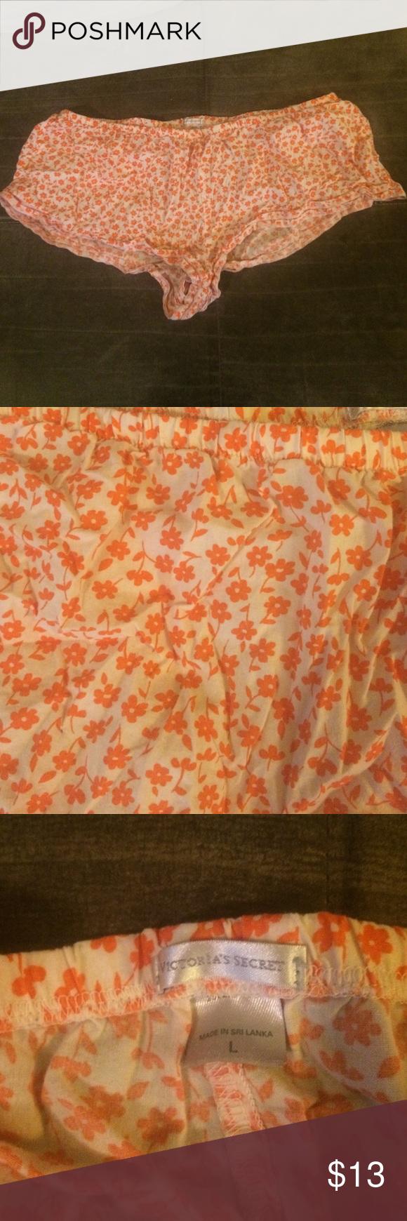 Victoria's Secret short cotton sleep shorts White with orange flowers, gently worn Victoria's Secret Intimates & Sleepwear Pajamas