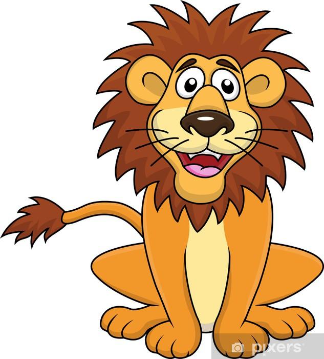 cf8c9d6cdd909 Sticker Drôle de lion dessin animé assis • Pixers® - Nous vivons pour  changer