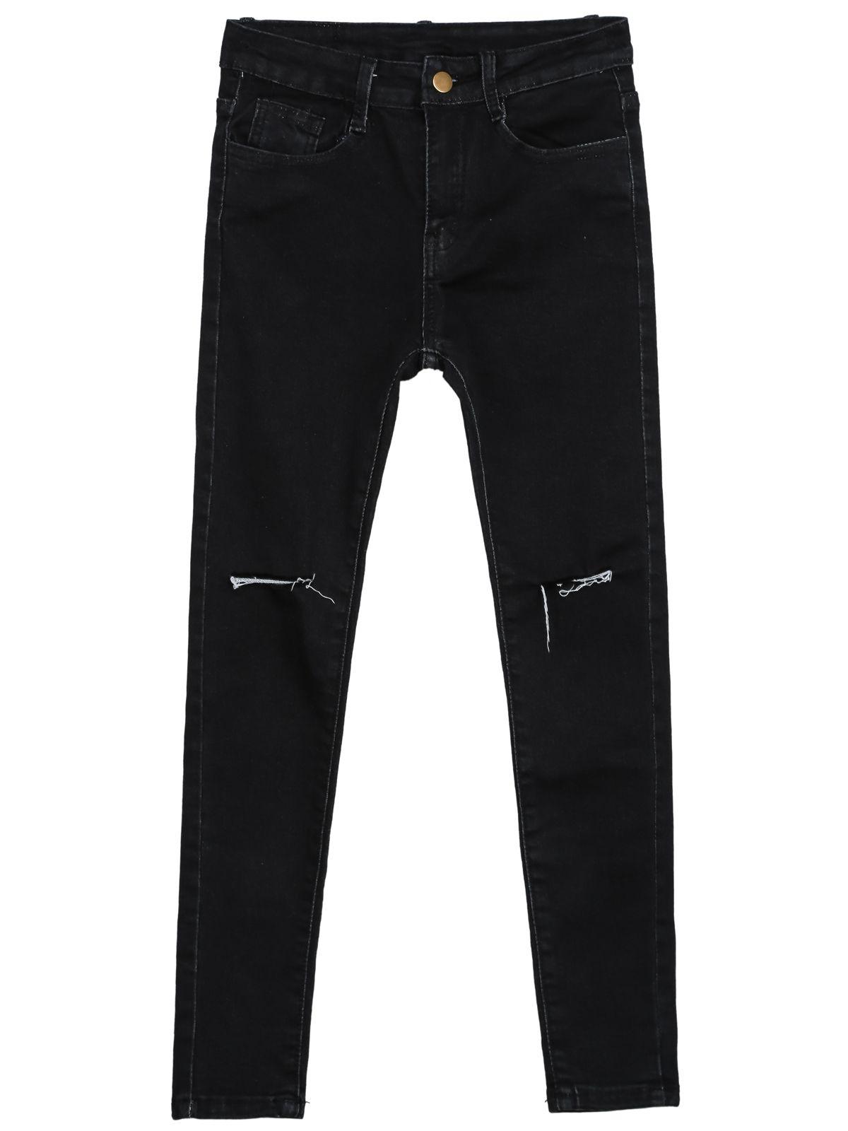 Black Slim Ripped Pockets Denim Pant 19.00 http://www.sheinside.com/Black-Slim-Ripped-Pockets-Denim-Pant-p-183740-cat-1740.html?aff_id=2416