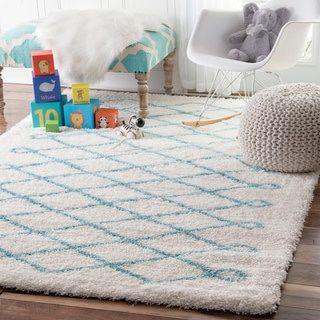 Nuloom Soft And Plush Cloudy Diamond Kids Nursery Baby Blue Rug 5 X 8 White Size Polyester Geometric