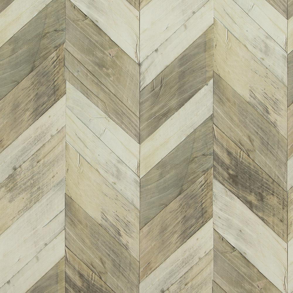 Walls Republic Wood Weathered Herringbone Grey and Beige