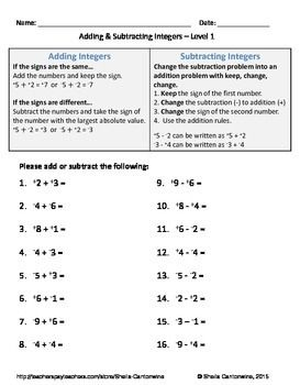 Adding and Subtracting Integers Worksheets (Differentiated