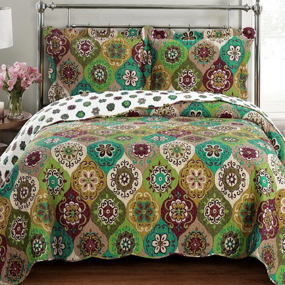 Moroccan Mandala Green Gold Quilt Coverlet Set Oversized ... : oversized quilts and coverlets - Adamdwight.com