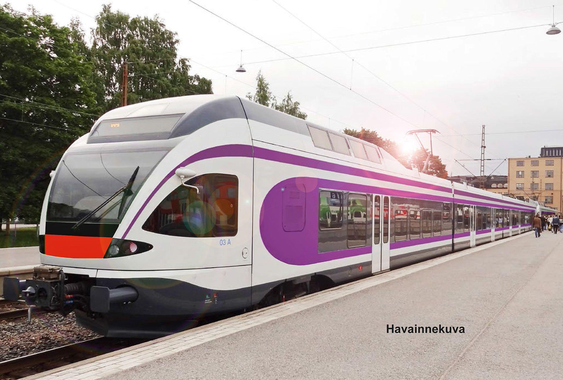 Helsinki Finland; the new metropolitan train style is PURPLE. Pääkaupunkiseudun lähijunat muuttuvat lähivuosina violeteiksi j ja pysyvät violetteina, vaikka niitä tulisi ajamaan joku muu kuin VR.