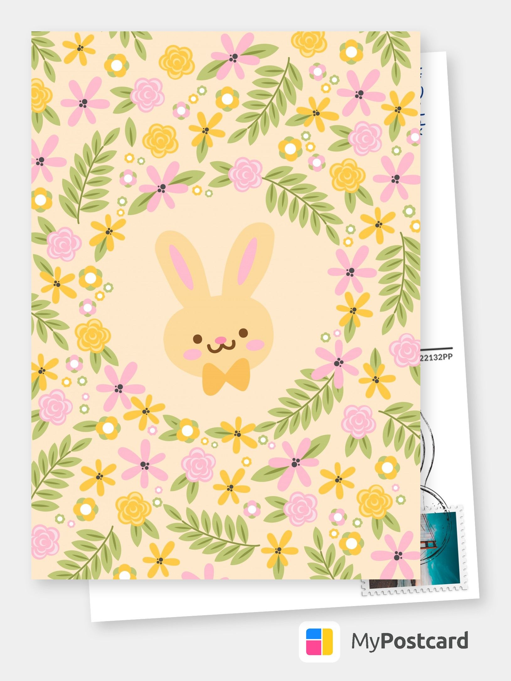 Sweet Bunny With Flowers Happy Easter Card Happy Easter