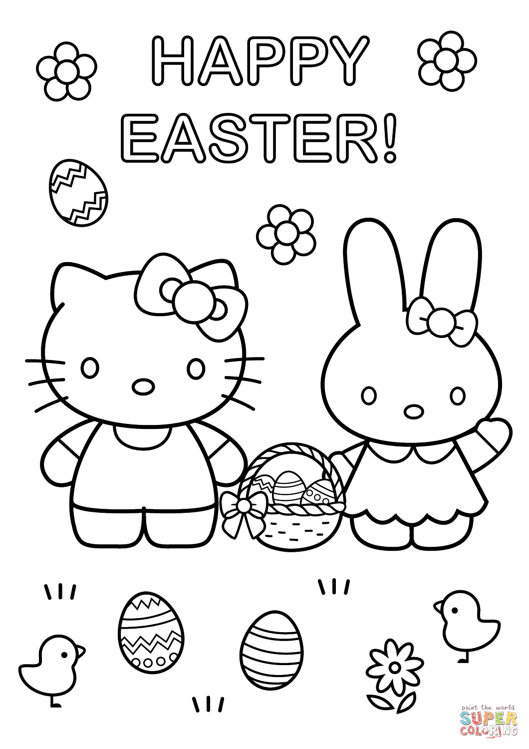 Hello Kitty With Easter Bunny Coloring Page From Hello