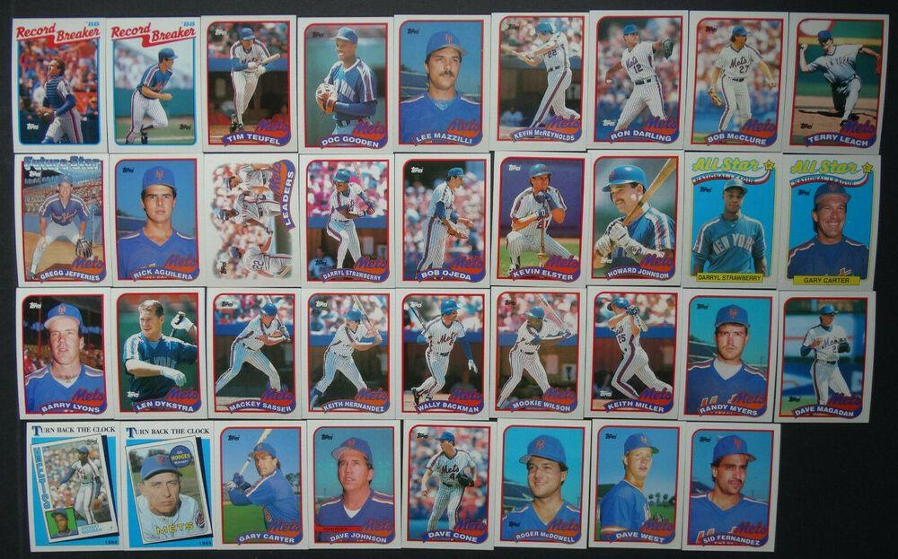 1989 topps new york mets team set of 37 baseball cards w