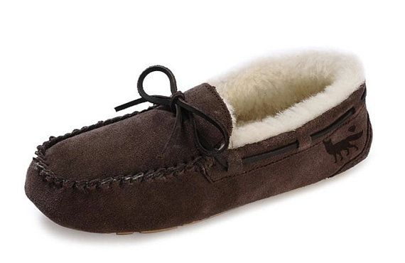 The Holiday Moccasin  Tan  Unisex by GFOXco on Etsy
