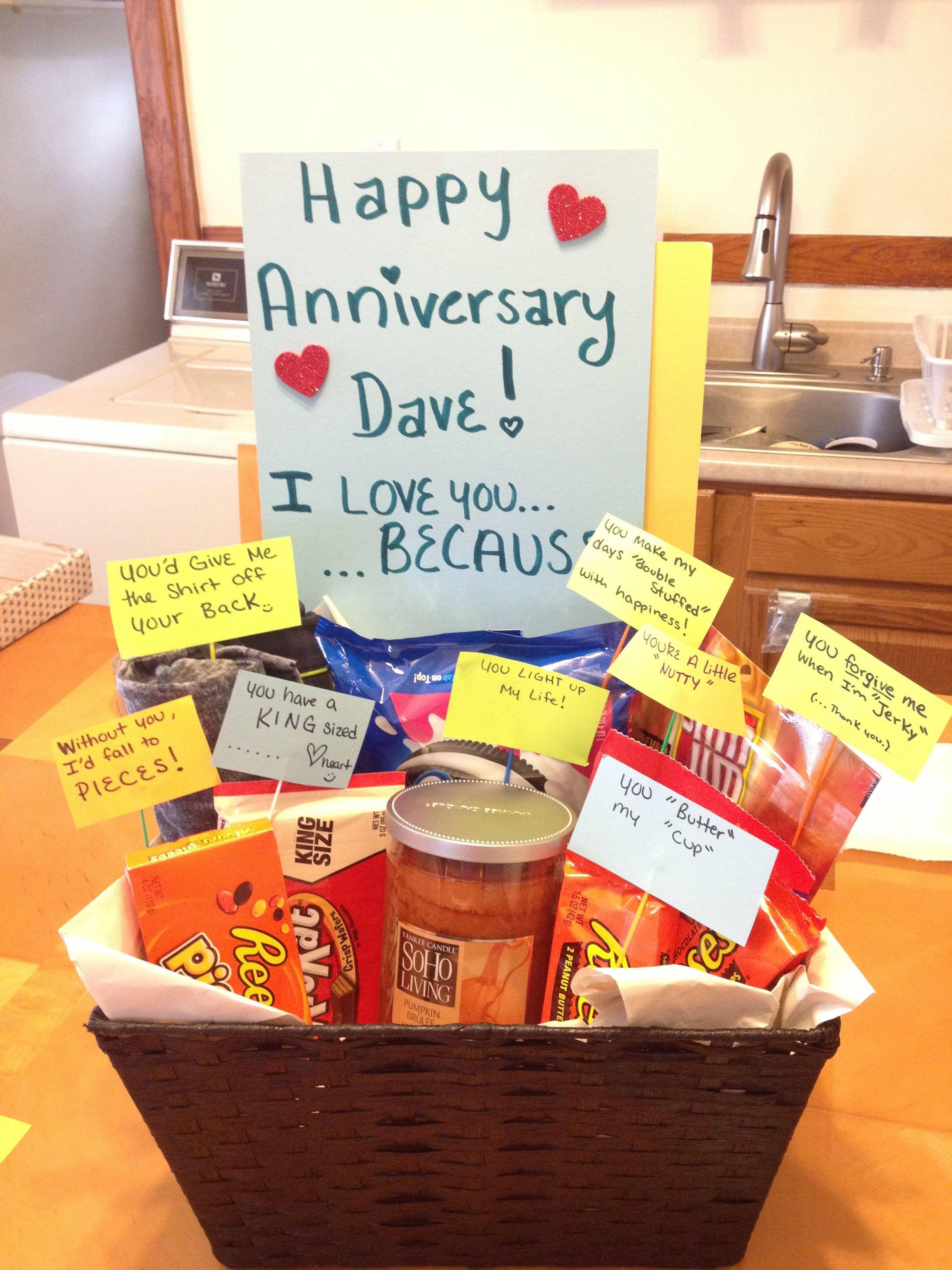 Anniversary Basket I Made For My Boyfriend Of Three Years 1 Year Anniversary Gifts Boyfriend Anniversary Gifts 7 Year Anniversary Gift