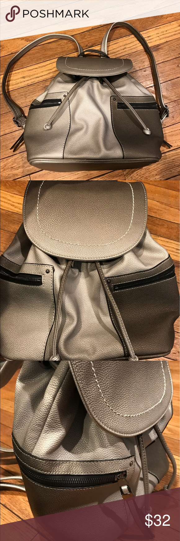 Well loved Moda Luxe Ombré Backpack Only used a handful of times. Decided backpack purses aren't for me. Can fit lots of stuff and super cute. Has two big exterior side zipper pockets and one inside as well as 2 slots inside to place keys or lipstick. Moda Luxe Bags Backpacks