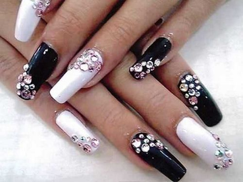 Black and white nail designs with diamond. #nailart #nailideas #nailpollish  #naildesign - Black And White Nail Designs With Diamond. #nailart #nailideas