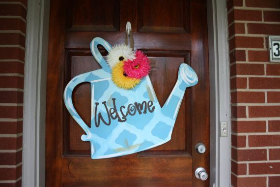 Watering Can Door Hanger Baby Blue and Sky by SouthernStyleGifts