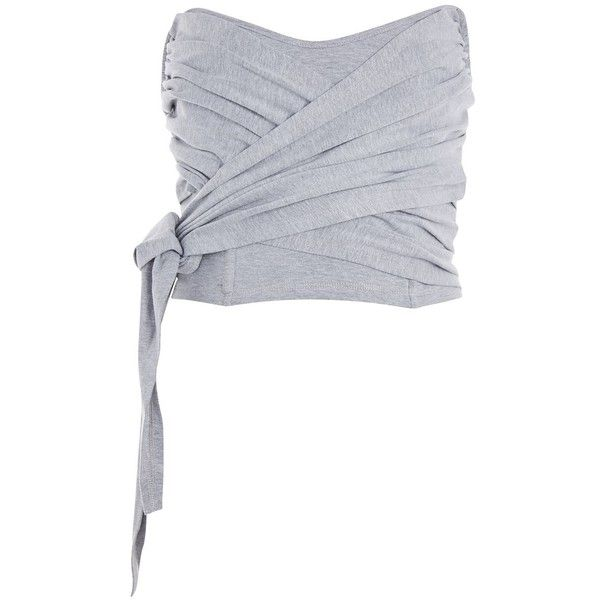 Topshop Corset Bandeau Wrap Top 20 Liked On Polyvore Featuring Tops Grey Marl Cotton Wrap Top Grey Top Twist Top Topshop Tops Cotton Corset Corset Top