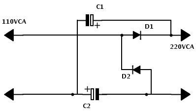 Este simples duplicador de tensão com retificador permite que um motor de pequeno porte, ou equipamento eletrônico funcione normalmente mesmo em tensões de 110V / 115V e 127V.