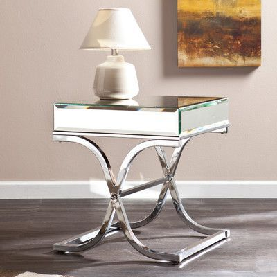 Wildon Home Caraman Mirrored End Table Color Champagne