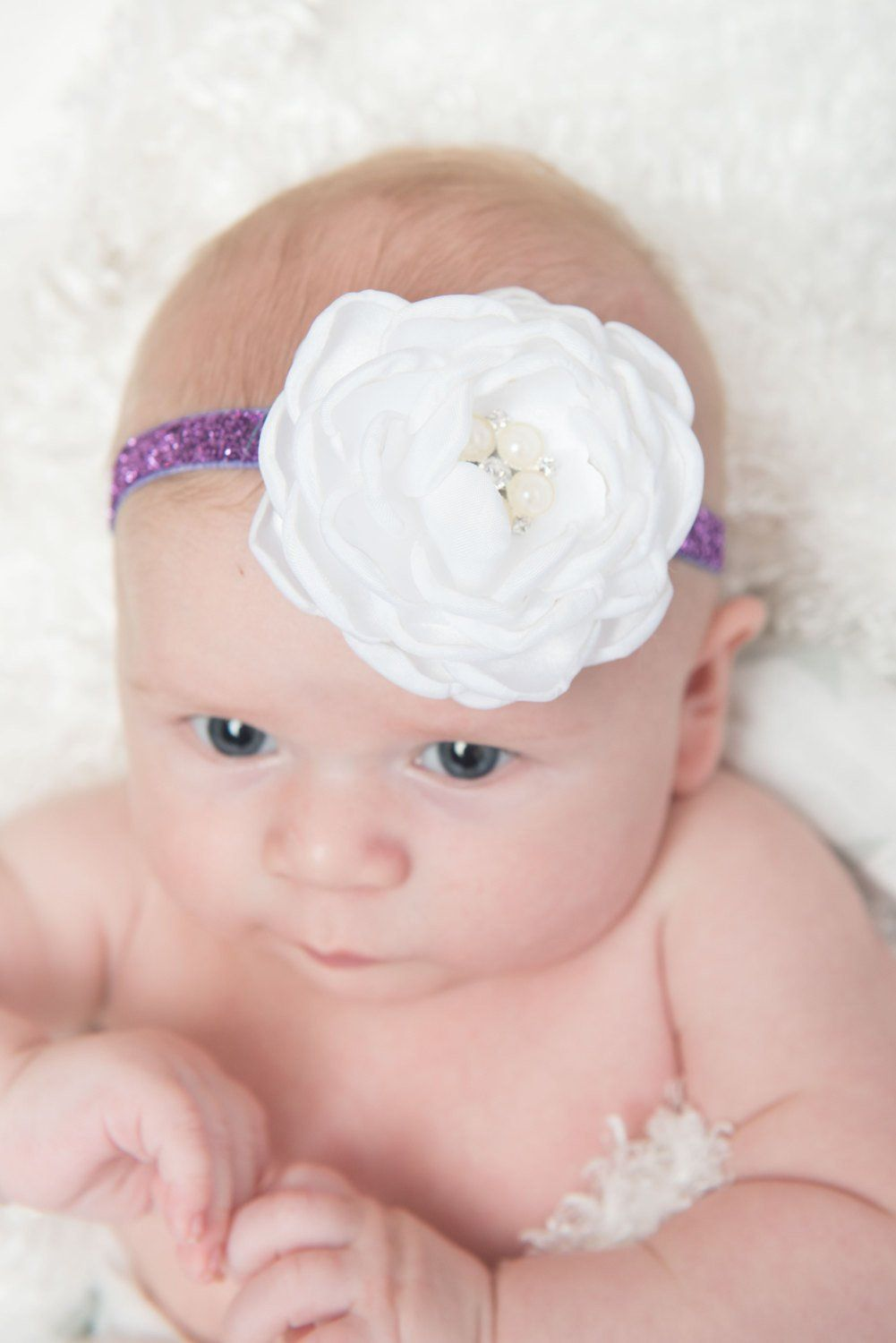White Purple Flower Headband Purple Glitter Flower Headbands