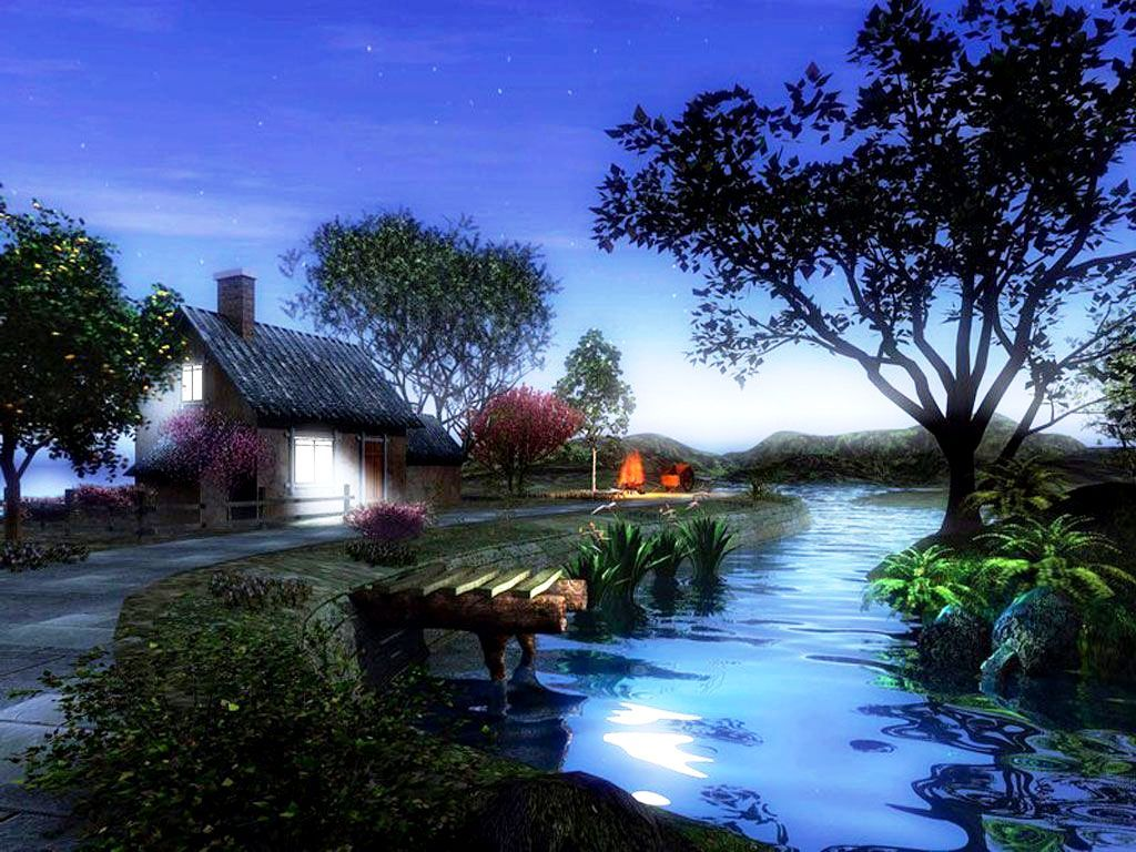 3d Home And River Wallpaper Photos Of Free 3d Wallpaper For Desktop Beau Paysage Paysage Belles Images Animees