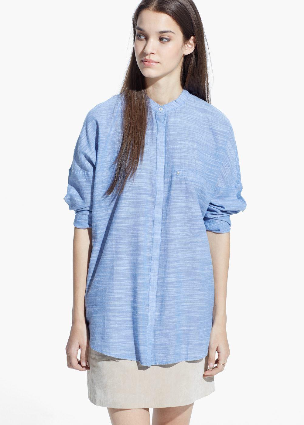 Camisa jaspeada algodón | MANGO