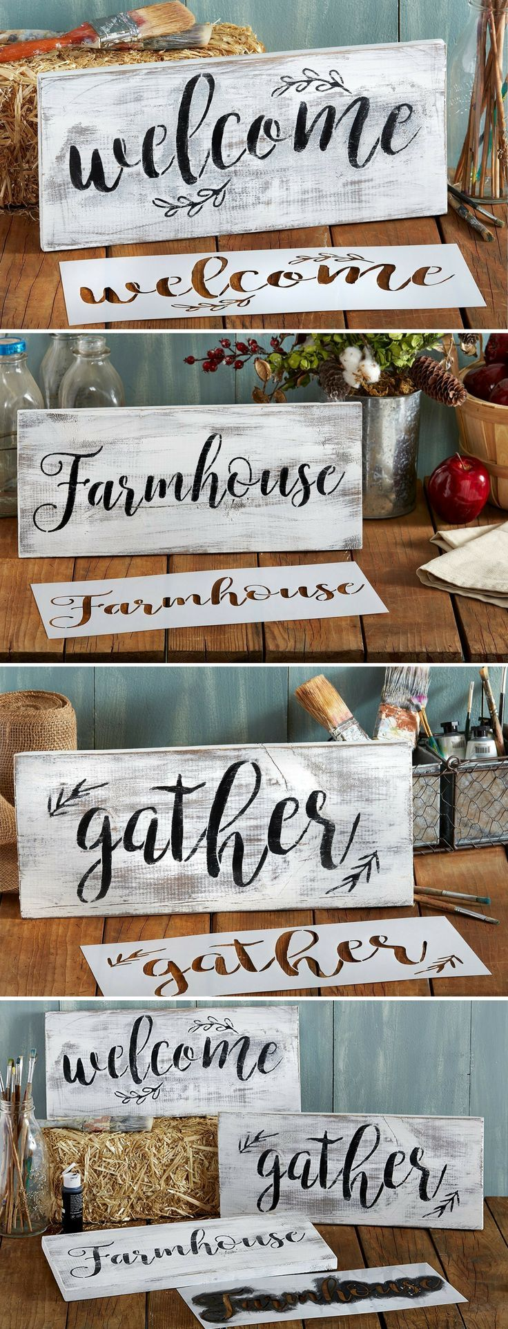 Gather welcome farmhouse stencil set large beautiful calligraphy