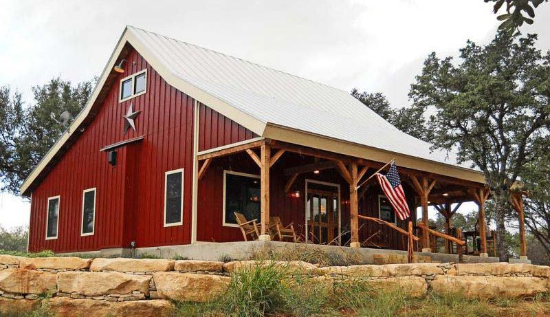 Country barn home kit w open porch 9 pictures metal for Barn house plans with porches