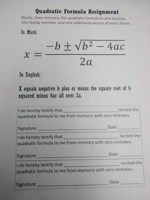 Math = Love: Quadratic Formula Templates | Alg-ee-bra dos ...