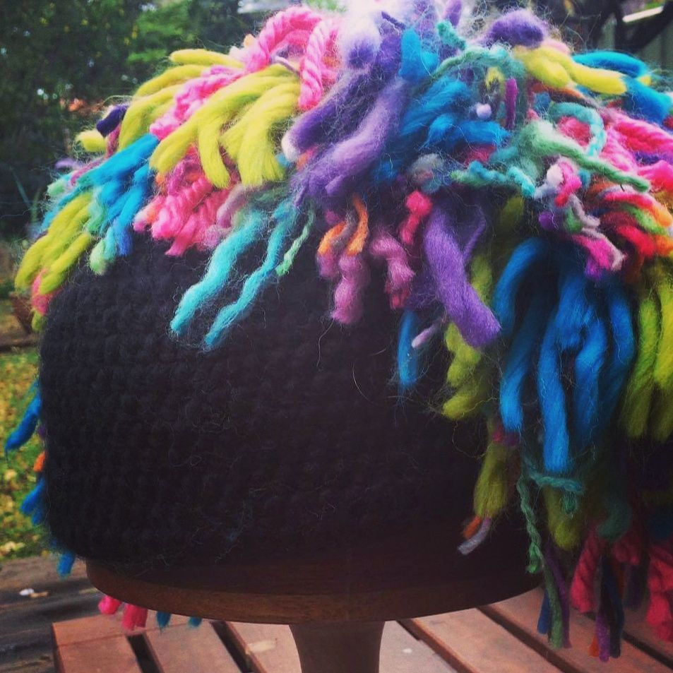 Tea and craft the fluffy rainbow mohawk hat crochet is my happy