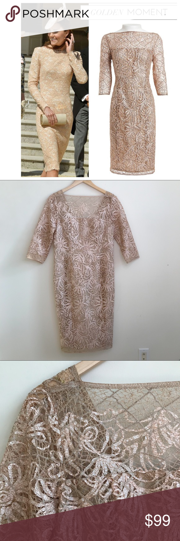 Worth New York Rose Gold Foiled Lace Dress Rose Gold Foiled Lace Dress From Worth New York Size 8 Excellent Pre Owner Condi Lace Dress Clothes Design Dresses